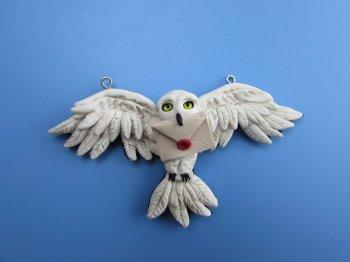 Кулон из полимерной глины в виде совы
